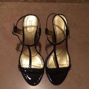 J. Crew Black Patent Leather Heeled Sandals